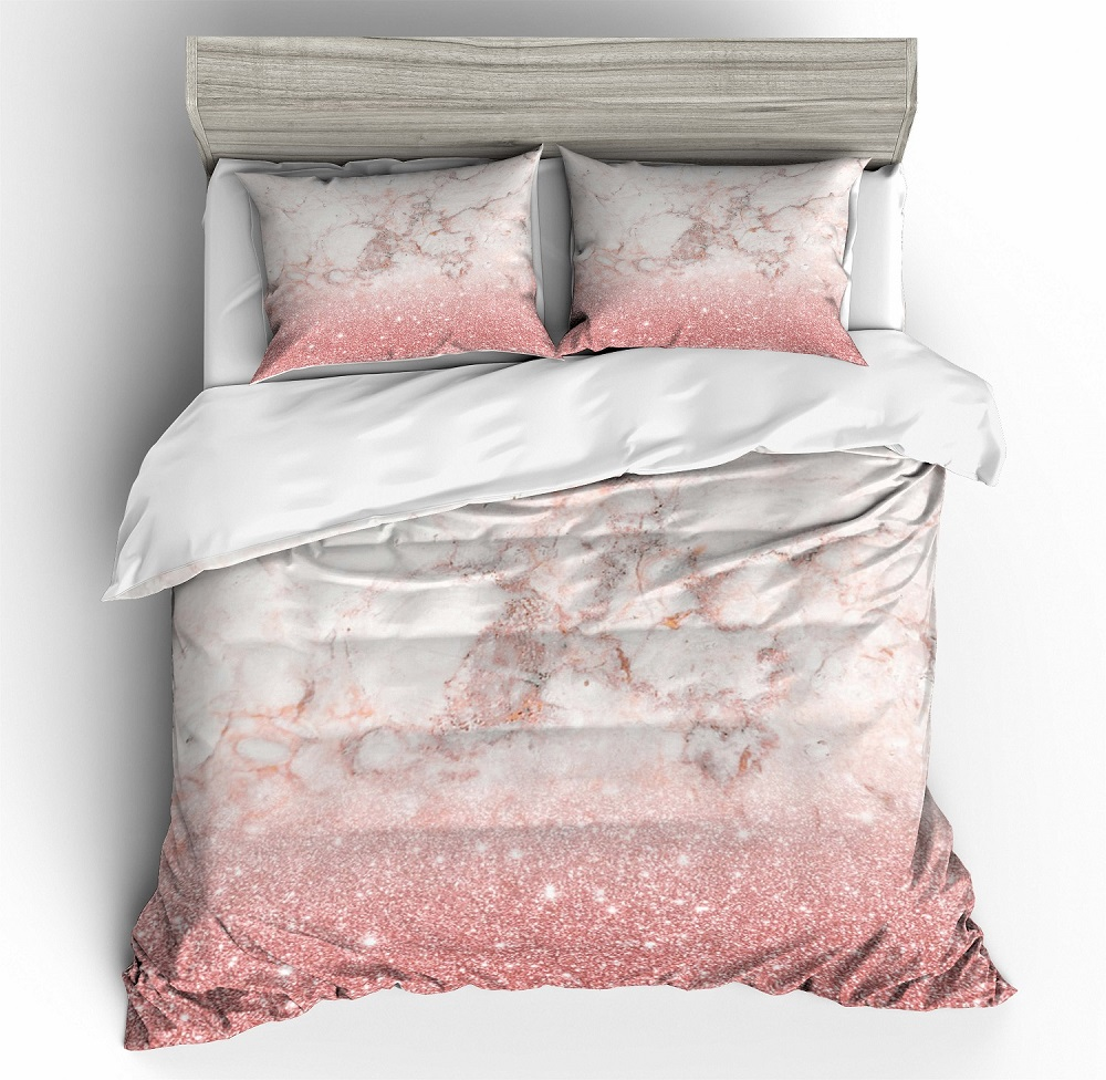 3D Print Microfiber Duvet Cover Set Marble Texture Bedding Set Bedroom Bed Linen Set Pillowcase Girls Bedclothes Twin Full Queen