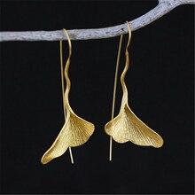 Lotus Diversión Joyería Hecha A Mano Única Verdadera Plata de Ley 925 Pendientes de Gota de la Hoja del Ginkgo Para Mujeres boucle d'oreille orecchini