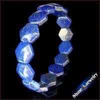 Comercio al por mayor 1 unids Azul lapislázuli Natural Escudo joyas Pulsera de Cuentas de Piedra Pulsera Brazalete Del Estiramiento Envío gratis