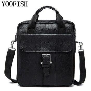 YOOFISH  Men's Genuine Cowhide Leather Bag Men Crossbody Shoulder Bag Briefcase,Brand Vintage Men Messenger Bags Handbag