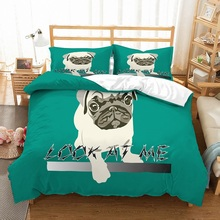 100% Microfiber 3D Handdrawing Pug Dog Look at Me Printed Green Bedding Set 3 Piece with 2 Pillowcase Animal Theme
