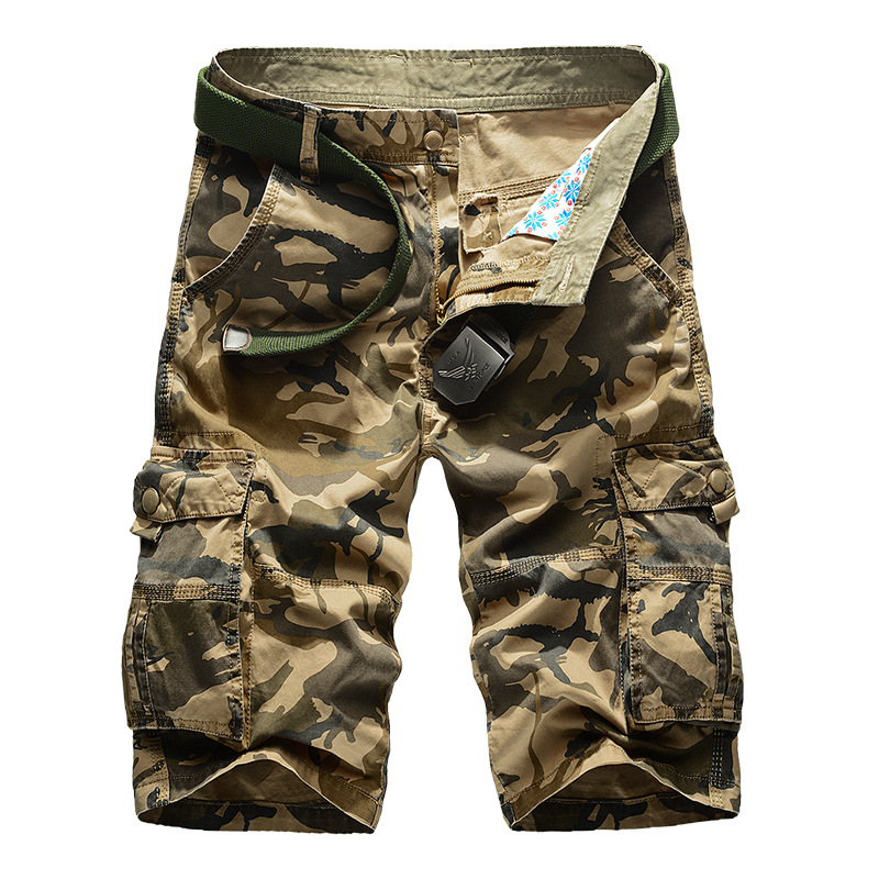 Camouflage Cargo Shorts Men 2018 New Mens Casual Shorts Male Loose Work Shorts Man Military Short Pants Plus Size 29-44 No Belt
