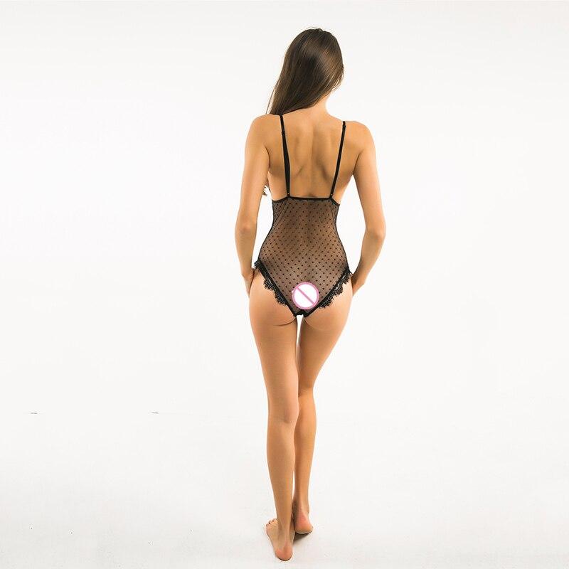 DOMODA New Fashion Women Black Sexy Lace Underwear Deep V Lingerie Backless Adjustable Straps Polka Dots Hight Leg Bodysuits