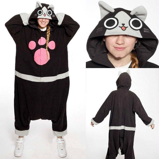 aa184434232e Cat Onesie Pyjama Unisex Cartoon Melynx Pajamas Party Costumes For ...