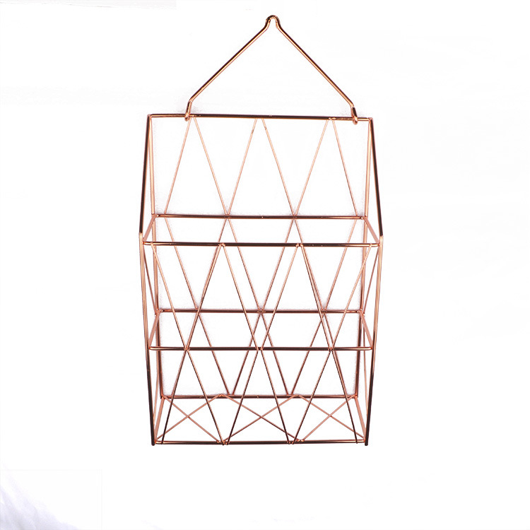 Металлическая корзина для хранения, модный настенный стеллаж для хранения в скандинавском стиле, железный стол, журнал, газета, органайзер, настенный держатель для украшения - Цвет: orange