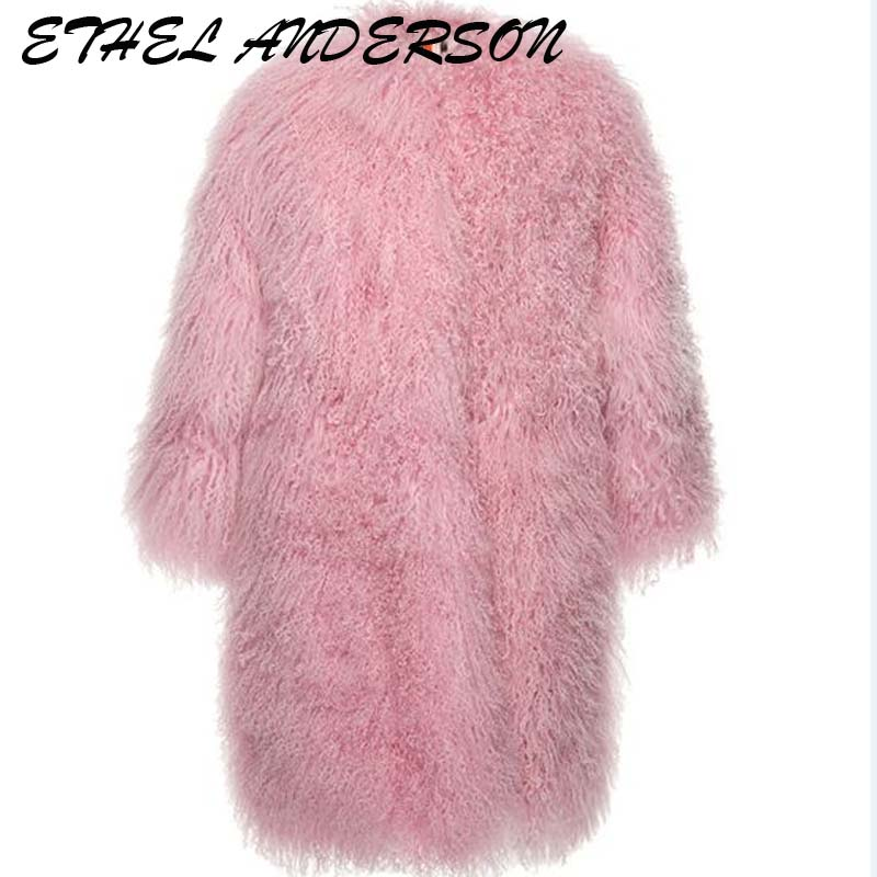2018 Milan Luxury Design Wholeskin Lamb Fur Coats Women's Genuine Lamb Fur jacket Winter Warm Sheep Fur Long Coats abrigos mujer