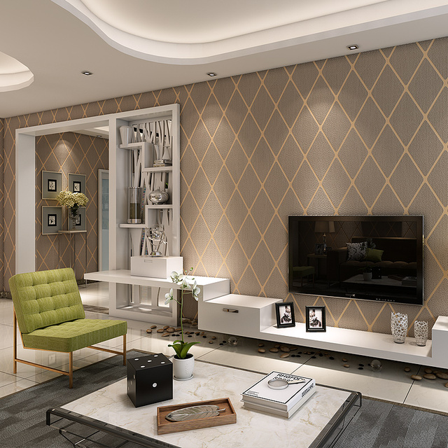 High Grade Grid Embossed Wallpaper 3D For Living Room Video Wall ...