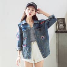 sweet denim jacket women 2016 European Fashion Loose BF Harajuku Patches Designs Badge Jeans coat women's casual jackets Tops