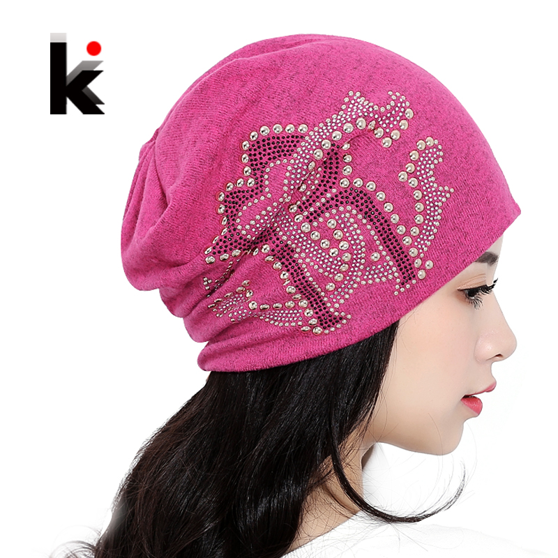 2017 Ladies Lnit Beanie Hats For Women Beanies Autumn And Winter Brand Knitted Hat Turban Pearls Diamond Skullies Hip-hop Cap 2017 autumn and winter womens beanie brand knitted hat turban butterfly diamond skullies cap ladies lnit hats for women beanies