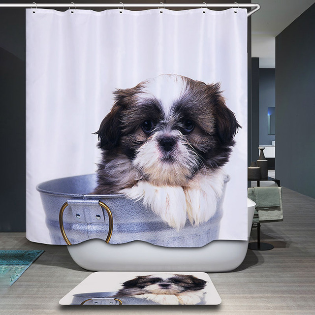 Monily Polyester Waterproof Vintage Countryside Scenic Dog Shower Curtain  Bathroom Curtains 12 Hooks Mildewproof Bath Curtain