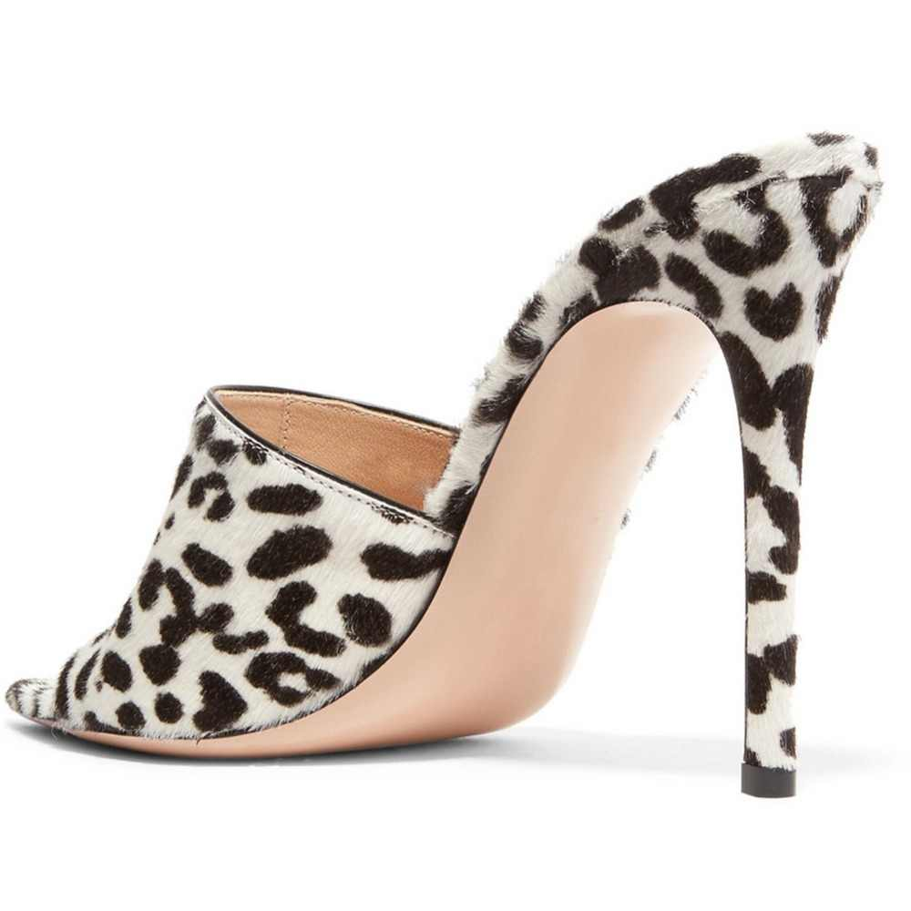 Pointy Open Toe White Leopard High Heel