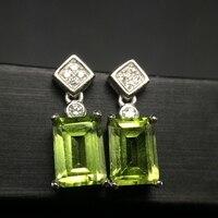 Uloveido Natural Peridot Earrings for Women, 925 Sterling Silver, 5*7mm*2 Pcs August Birthstone Gemstone Birthday Gift FR111