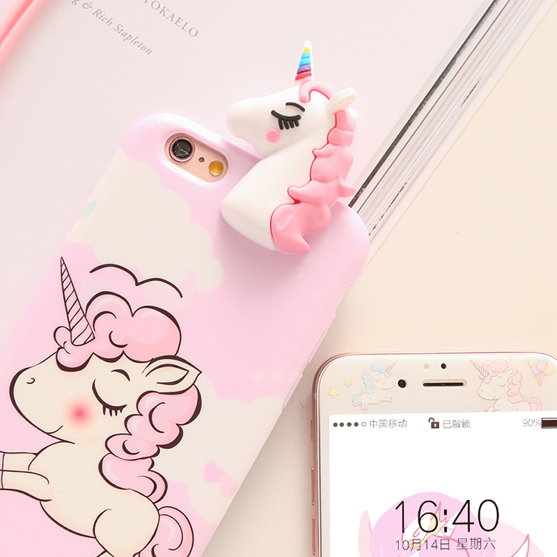 Unicorn case For iPhone 7 /8 Plus Tempered Glass film for iPhone 6 6s Plus case soft cover cartoon Screen Protector for ip 7plus