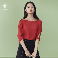 FANSILANEN 2017 Fashion Summer Spring T Shirt Tshirt Tops Solid Women T Shirts Sexy Loose Red