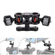 Multi Function Double Ball Head Hot Shoe Mount Adapter Magic Arm 360 Ball Head with 1/4 screw for Sony Canon Nikon Camera