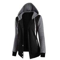 Kadın Moda Rahat Kazak Uzun Kollu Patchwork Kapşonlu Kış Coat Zip-Up Hoodie Moda Coreana 80T0168 Womens Giyim Tops
