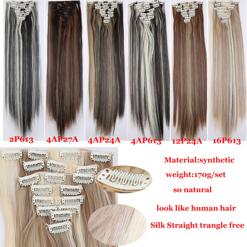 Snoilite 8pcsset 26inch Synthetic 18 Clips In Hair Extensions