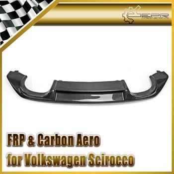Car-styling For VW Scirocco (Facelifted) Carbon Fiber OEM Rear Diffuser Glossy Fibre Bumper Add On Garnish Auto Lip Accessories
