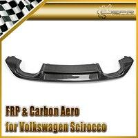 Car styling For VW Scirocco (Facelifted) Carbon Fiber OEM Rear Diffuser Glossy Fibre Bumper Add On Garnish Auto Lip Accessories