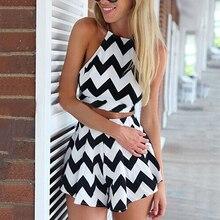 Women Summer Two Piece Suit Halterneck Striped Sleeveless Top Sexy Shorts Skirt
