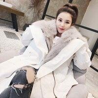 2018 Новая мода Роскошная марка Для женщин натуральным лисьим мехом пальто толстые теплые пушистые Угол крыла большой воротник парка с капюш