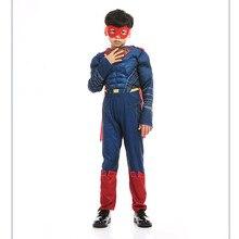 Boys Muscle Superman Cosplay Costumes Marvel Superhero Halloween Purim Birthday Party Festival Stage
