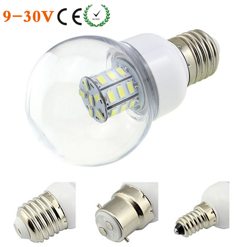 buy e27 e26 e14 b22 screw led globe bulb lamp 12v 24v ac dc 27 leds smd 5730. Black Bedroom Furniture Sets. Home Design Ideas