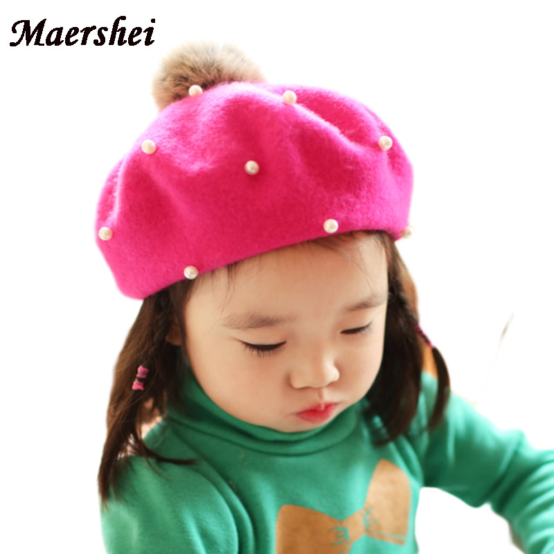 Apparel Accessories Girl's Hats Hot Sale Cute Children Wool Berets Baby Kids Spring Autumn Winter Hats Girls Fashion Cap Childrens Painter Cap French Cap