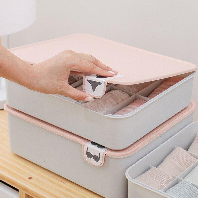 Haushalt Kunststoff Unterwäsche Lagerung Box mit Mark Fach Closet Organizer mit Abdeckung für Unterwäsche Socken