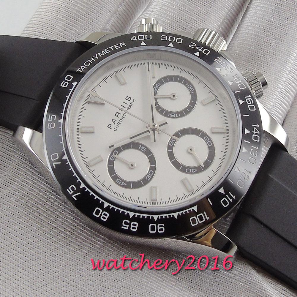 39mm PARNIS cadran blanc saphir verre chronographe bracelet en caoutchouc mouvement à Quartz montre pour hommes - 4
