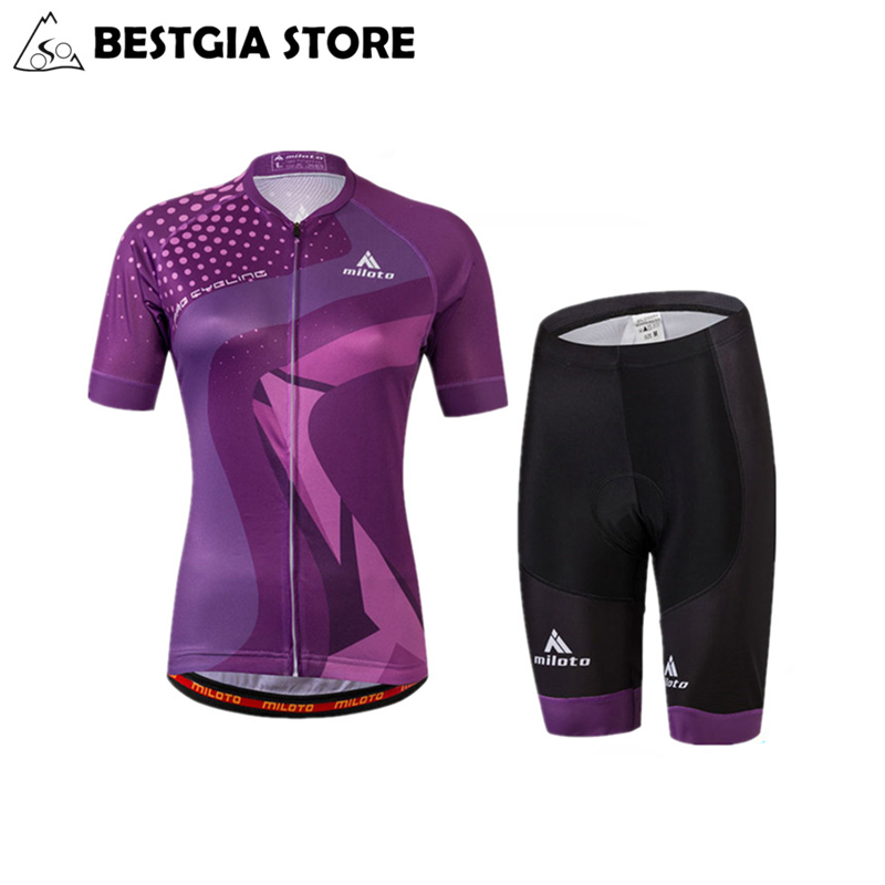 New Design Cycling Sets Women Sports Wear MTB Bike Clothing Purple Summer Bicycle Jersey Short Sleeve With Bib Pants Breathable quick dry breathable cycling bike jersey short sleeve summer spring women shirt bicycle wear racing tops pants sports clothing