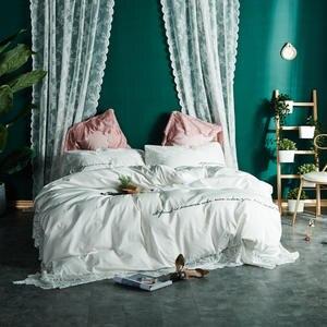 aea9fb4014 100% conjuntos de cama de algodão rosa branca grande Laço luxo lençol capa  de edredão