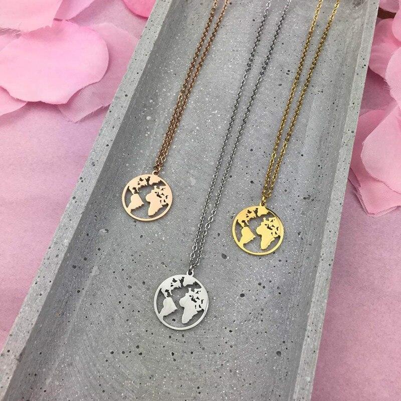 Mavis liebre viajar el mundo collar 20mm mapa del mundo colgante collar de acero inoxidable para la gota como regalo de las mujeres