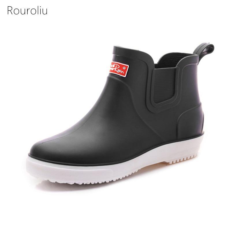 Home Initiative Rouroliu Männer Herbst Winter Ankle Rain Männlichen Nicht-slip Wasserdichte Wasser Stiefel Sicherheit Arbeits Schuhe Mann Gummistiefel Fr37