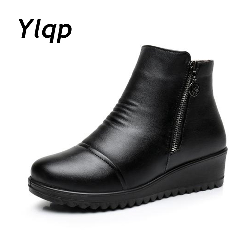 2017 New Fashion PU Leather Winter Boots for Women Flat Shoes Ladies Snow Boots Womens Flats Keep Warm Mother Work Shoes flat shoes women pu leather women s loafers 2016 spring summer new ladies shoes flats womens mocassin plus size jan6