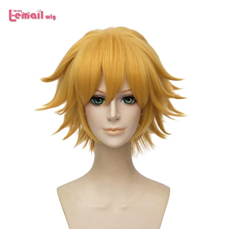 L-e-mail peruca gato noir cosplay perucas 30cm curto amarelo cosplay peruca resistente ao calor do cabelo sintético perucas