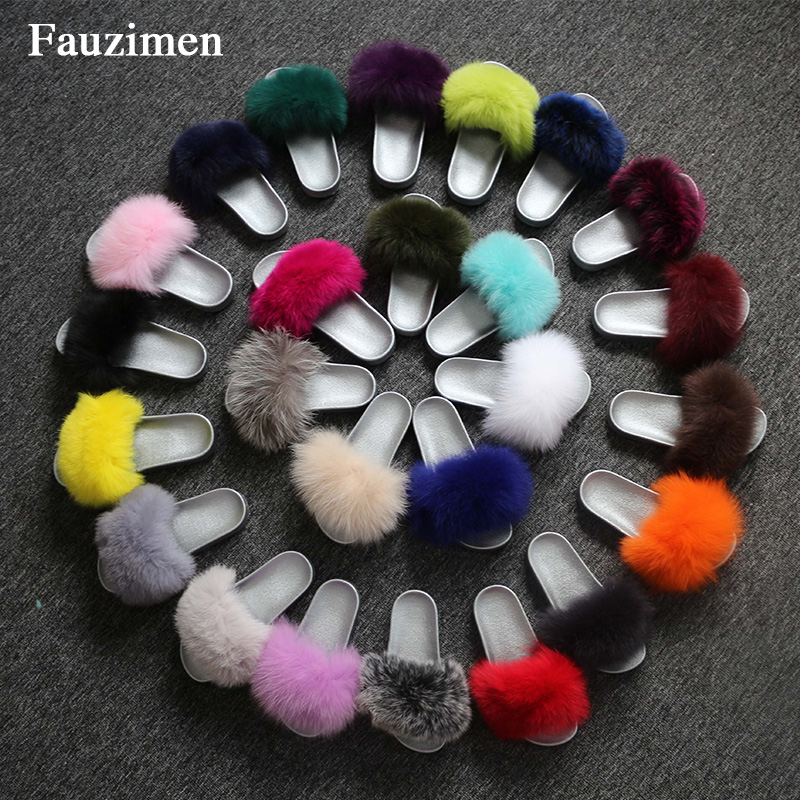 Luxury shoes women designers Summer autumn Real Fox Fur Slippers women Furry flip flops ladies shoes