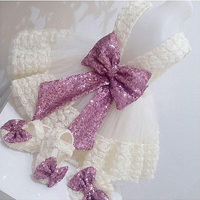 Cute 3D Flower Lace White/ivory flower girl dress baby toddler tulle birthday gown for wedding and party with purple sequin bow