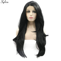 Sylvia 1#/1B Black Long Soft Wavy Synthetic Lace Front Wig for Black Women Glueless Heat Resistant Fiber Hair Wigs Middle Parted