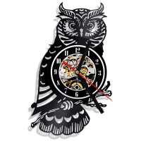 Creative Hollow Night Owl Fashion CD Record Clock 3D Ornament Gift Hanging LED Wall Clock Classic Room Decor Wall Art Watch