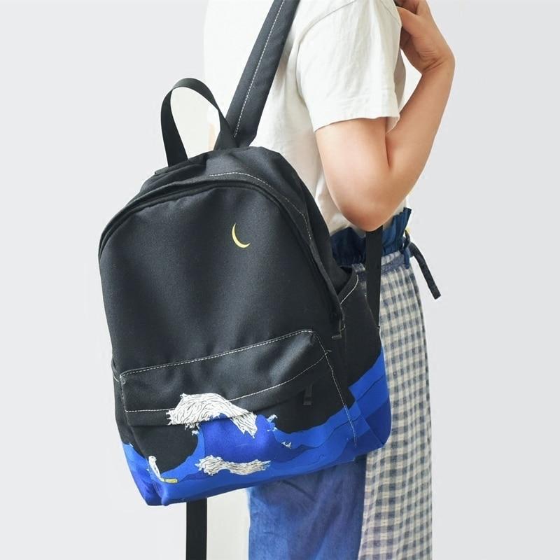 Lua de madeira design original preto azul impressão mar lua  mochila lona ocasional das mulheres sacos escola para adolescentes  meninas sacbackpack school bagschool bag for teenagerbags for  teenager