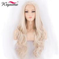 Ash Blond Peruka Syntetyczna Koronka Przodu Peruki dla Białych Kobiet jasny Blond Darmo Rozstanie 22 Cali Długi Falista Żaroodporne włókna