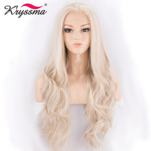 Ash Blonde Wig Synthetic Lace Front Wigs for White Women Light Blonde Free Parting 22 Inches Long Wavy Heat Resistant Fiber(China)