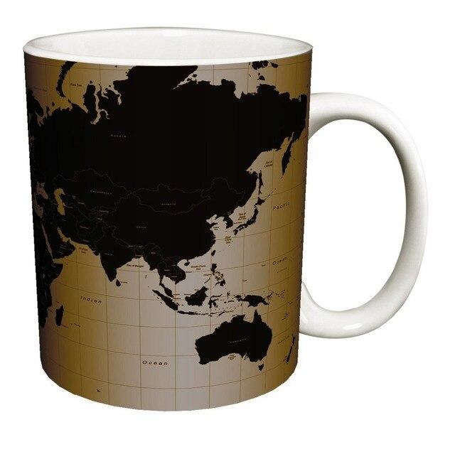 Diy world map coffee mugs black cold hot changing color heat diy world map coffee mugs black cold hot changing color heat reactive tea travel white mug sciox Image collections