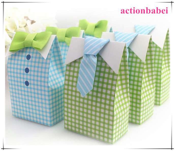 new creative my little man blue green bow tie birthday boy baby shower favor candy treat bag wedding favors candy box gift bags