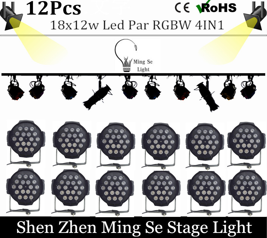 New Store 12pcs 18x12w led Par lights RGBW 4in1led dmx512 disco lights professional stage dj equipment fast russia shipping 7x12w led par lights rgbw 4in1 flat par led dmx512 disco lights professional stage dj equipment