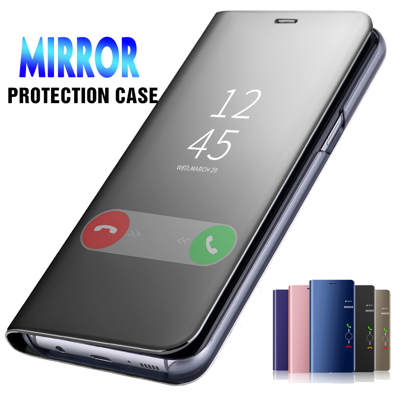 Mirror Smart Leather Cover Case For <font><b>Xiaomi</b></font> <font><b>Redmi</b></font> <font><b>Note</b></font> <font><b>7</b></font> 6 5A 5 <font><b>Pro</b></font> Plus 6A Mi A2 Lite A1 8 SE 5X 6X <font><b>Note</b></font> 4 4X <font><b>Global</b></font> <font><b>Version</b></font> S2 image