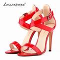 LOSLANDIFEN Women Pumps Sexy Open Toe Thin Heels Pumps For Women Patent Leather High Heels Shoes Pumps 14 color 102-4PA