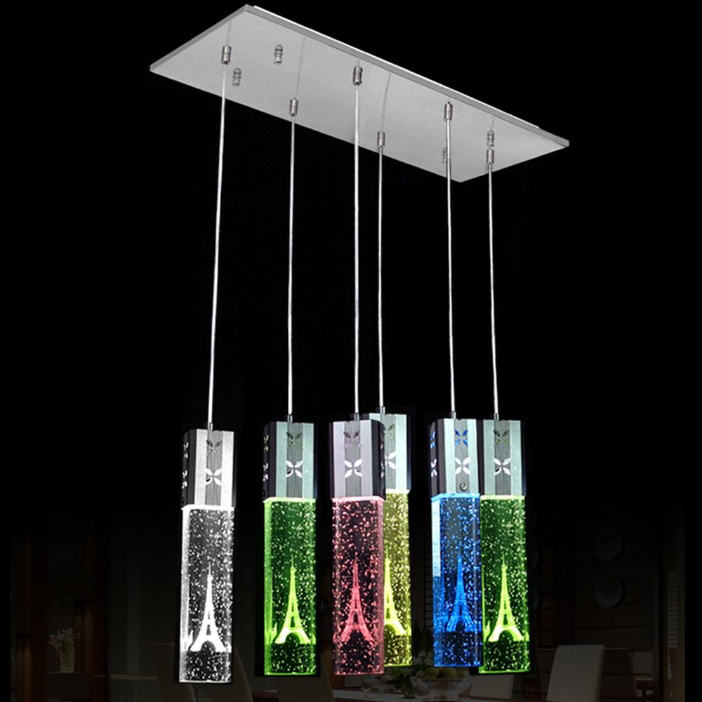 LED Oblong Crystal Tube Dining Room Pendant Lights Restaurant Bar Counter Pendant Light Balcony Hallway Hanging Fixtures