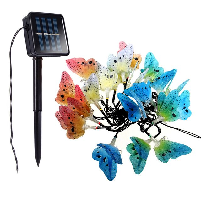 5M Fiber Optic Solar Powered Garden Patio Lawn Party Christmas Butterfly 20  LED String Light Outdoor